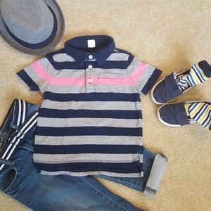 Gap pink and navy stripe polo